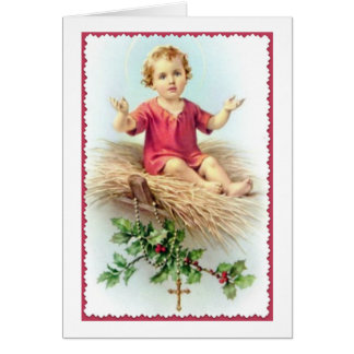 Jesus Manger Christ Child Rosary Holly Berry Straw Card