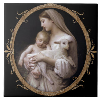 JESUS, MARY AND THE LAMB. TILE