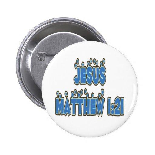 Jesus Matthew 1:21 Buttons