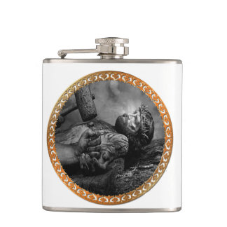 Jesus Nailed with his arms and hands being fasten Hip Flask