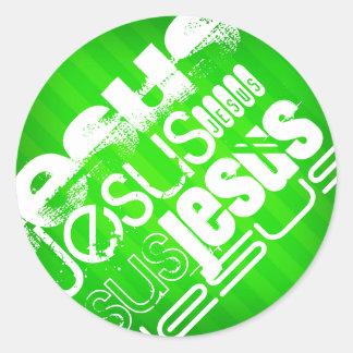 Jesus; Neon Green Stripes Round Sticker