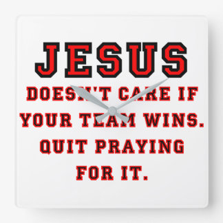 Jesus: Not a Sports Fan Black & Red Square Wall Clock