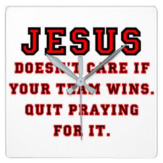 Jesus: Not a Sports Fan Black & Red Wall Clocks