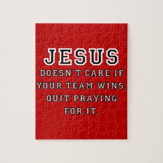 Jesus: Not a Sports Fan Black-White Jigsaw Puzzle