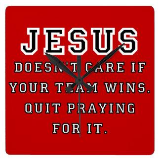 Jesus: Not a Sports Fan Black-White Wall Clock