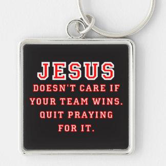 Jesus: Not a Sports Fan - White/Red Keychain