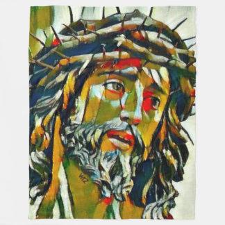 Jesus Of Nazareth Oil Fleece Blanket