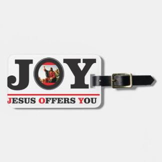 Jesus offers you joy label luggage tag