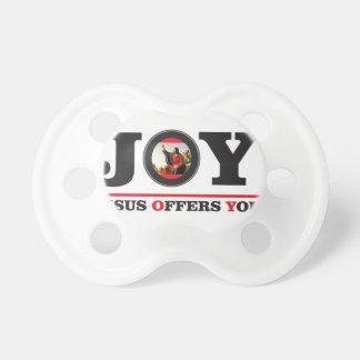 Jesus offers you joy label pacifier