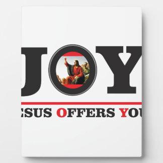Jesus offers you joy label plaque