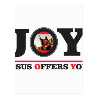 Jesus offers you joy label postcard