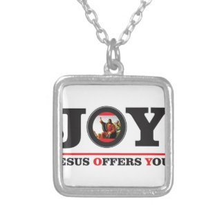 Jesus offers you joy label silver plated necklace