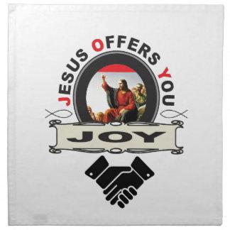 Jesus offers you joy logo napkin