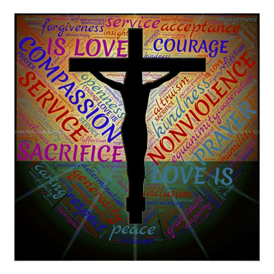 Jesus on Cross, Non Violence, Acceptance Poster