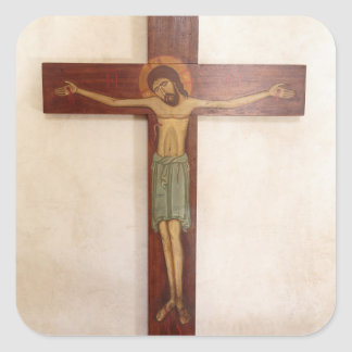 Jesus On The Cross Art Square Sticker
