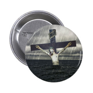 Jesus on the Cross at the Sea 2 Inch Round Button
