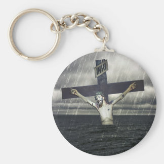Jesus on the Cross at the Sea Basic Round Button Keychain