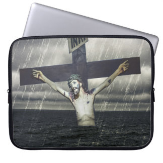 Jesus on the Cross at the Sea Laptop Computer Sleeve