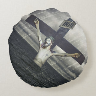 Jesus on the Cross at the Sea Round Pillow