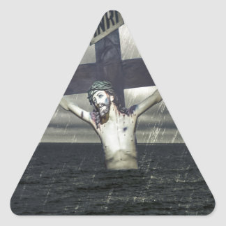 Jesus on the Cross at the Sea Triangle Sticker