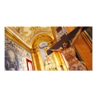 Jesus on the cross photo card