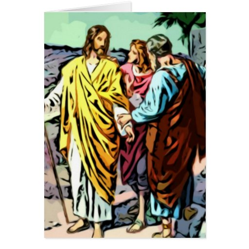 Jesus on the Road to Emmaus Greeting Cards