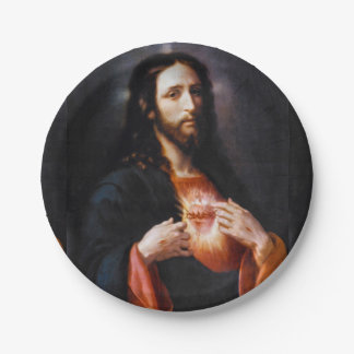 Jesus Opens His Heart to Us 7 Inch Paper Plate