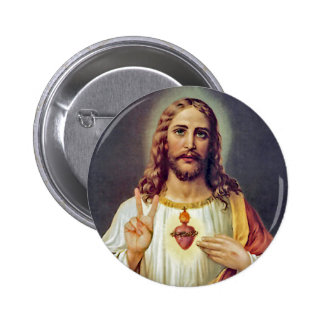 Jesus Peace Sign Sacred Heart 2 Inch Round Button