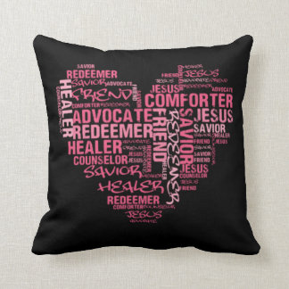 Jesus Pink and Black Word Art Throw Pillows