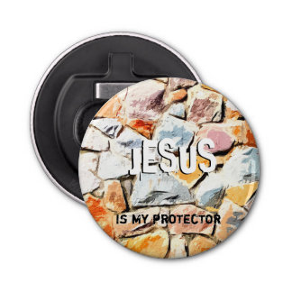 JESUS protects me Bottle Opener