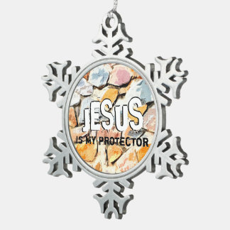 JESUS protects me Snowflake Pewter Christmas Ornament