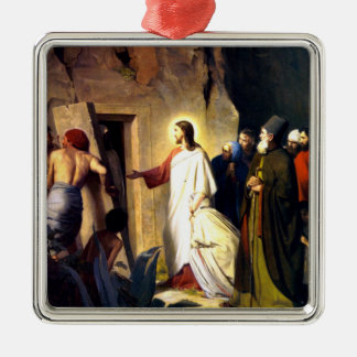 Jesus Raising Lazarus from the Dead Silver-Colored Square Ornament
