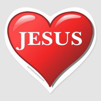 JESUS red heart Heart Sticker