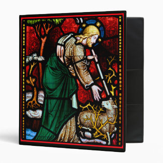 Jesus Rescues a Lamb of God Stained Glass 3 Ring Binder