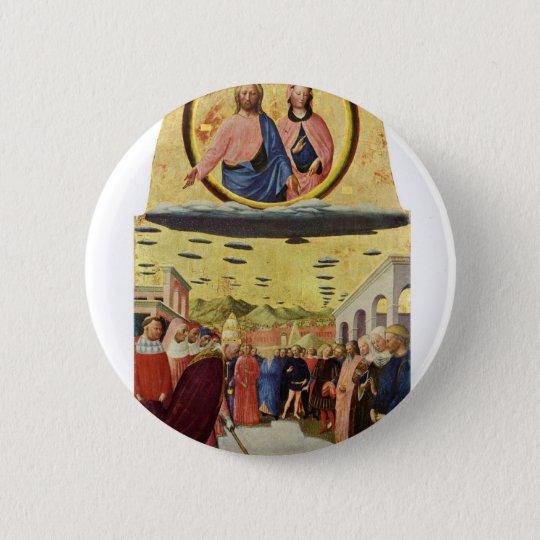 Jesus Rides a UFO 2 Inch Round Button