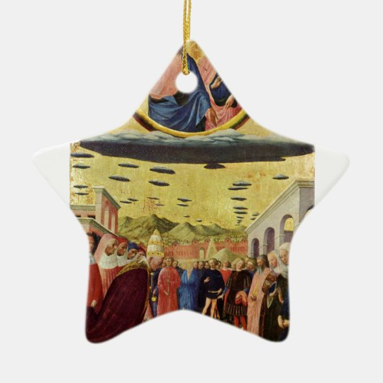 Jesus Rides a UFO Ceramic Ornament
