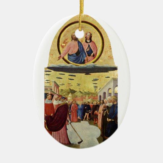 Jesus Rides a UFO Ceramic Ornament