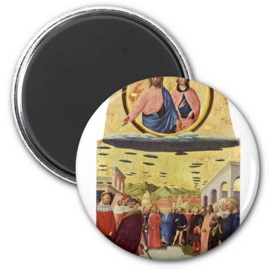 Jesus Rides a UFO Magnet
