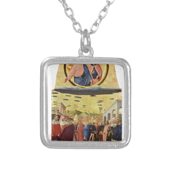 Jesus Rides a UFO Silver Plated Necklace