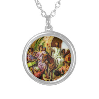 Jesus Rides the Donkey into Jerusalem Silver Plated Necklace
