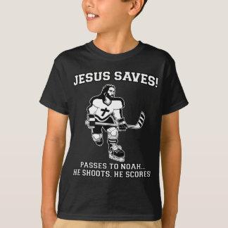 Jésus sauve le T-shirt drôle d'hockey