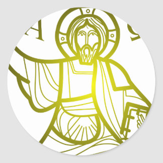 Jesus saves Alpha and Omega Classic Round Sticker