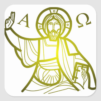 Jesus saves Alpha and Omega Square Sticker