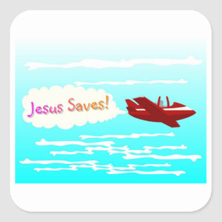 Jesus Saves and airplane in clouds Square Sticker