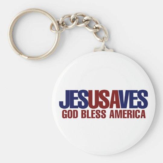 Jesus Saves Basic Round Button Keychain