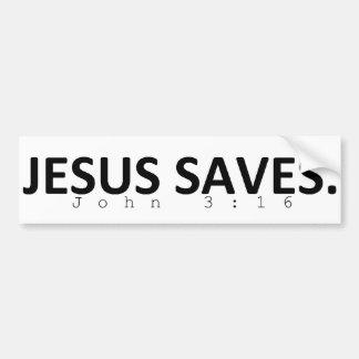 Jesus Saves. Bumper Sticker