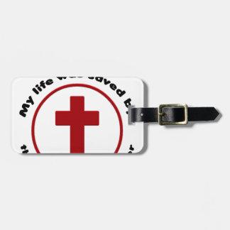 jesus saves, christian religion gift t shirt luggage tag
