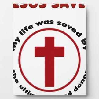 jesus saves, christian religion gift t shirt plaque