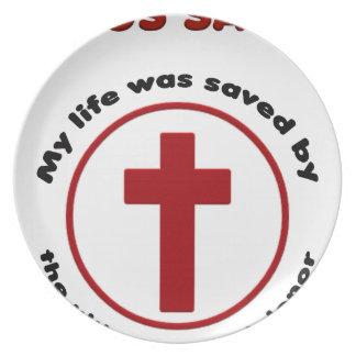 jesus saves, christian religion gift t shirt plate