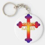 Jesus Saves Cross Basic Round Button Keychain